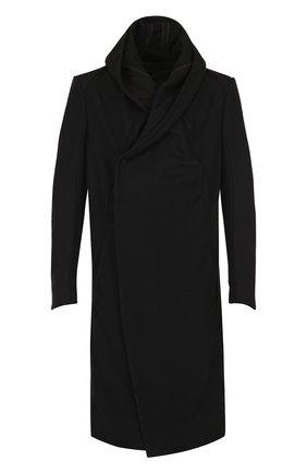 Шерстяное пальто с капюшоном Masnada черного цвета | Фото №1