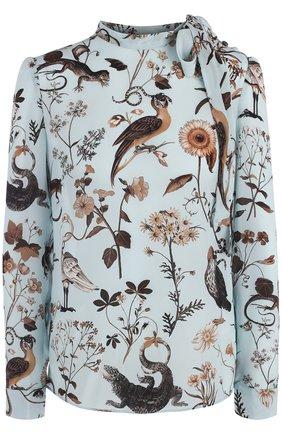 Женская шелковая блуза с принтом и воротником-стойкой REDVALENTINO, цвет голубой, арт. QR3AB1X0/3T4 в ЦУМ | Фото №1
