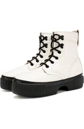 Высокие кожаные ботинки на платформе AGL белые | Фото №1