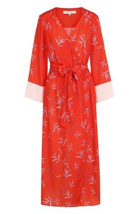 Платье-миди с запахом и принтом | Фото №1