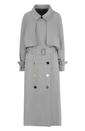Однотонное шерстяное пальто с поясом | Фото №1