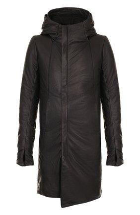 Утепленная кожаная куртка свободного кроя | Фото №1