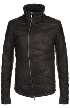 Утепленная кожаная куртка с косой молнией | Фото №1