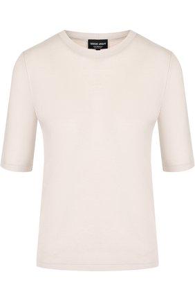 Однотонная кашемировая футболка с круглым вырезом | Фото №1