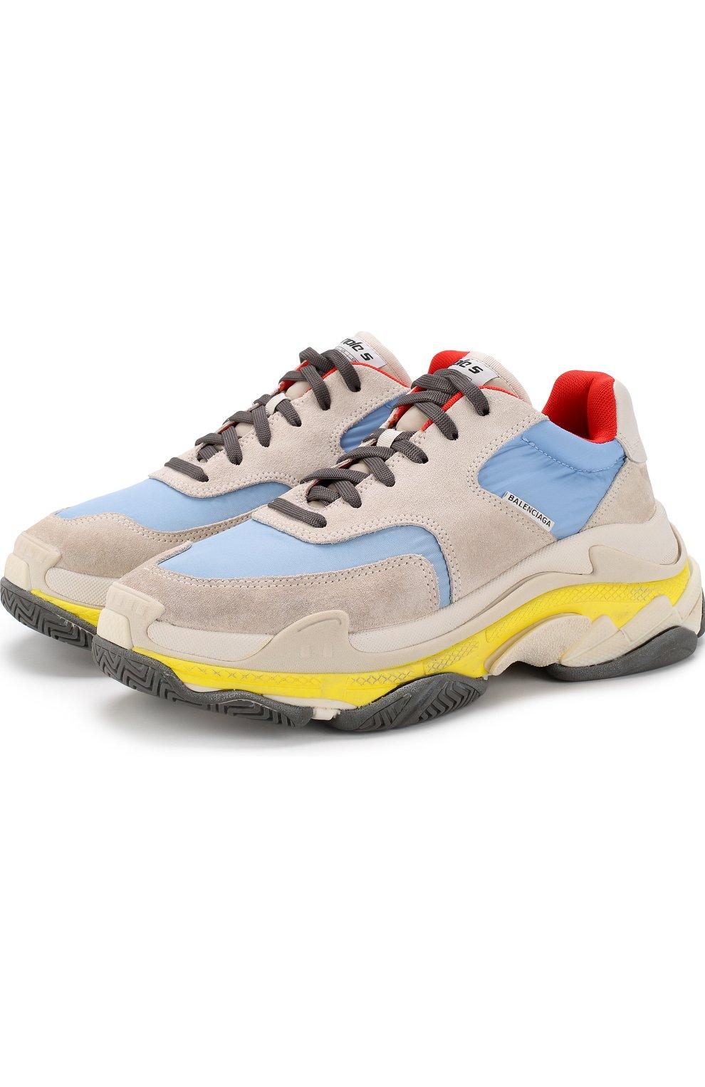 Кожаные кроссовки Triple S с текстильной отделкой | Фото №1
