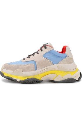 Кожаные кроссовки Triple S с текстильной отделкой | Фото №3