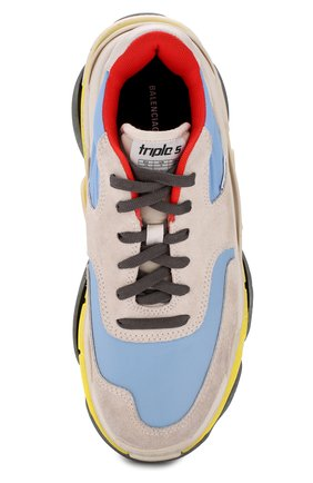 Кожаные кроссовки Triple S с текстильной отделкой | Фото №5