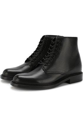 Женские кожаные ботинки army на шнуровке SAINT LAURENT черного цвета, арт. 531326/CY500 | Фото 1