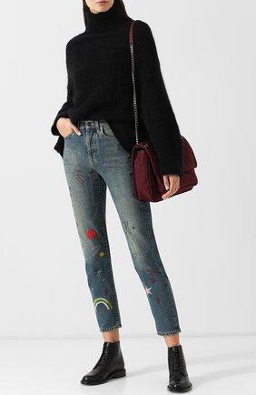 Женские кожаные ботинки army на шнуровке SAINT LAURENT черного цвета, арт. 531326/CY500 | Фото 2