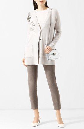 Кардиган из смеси шерсти и кашемира с декоративной отделкой Escada Sport светло-серый | Фото №1