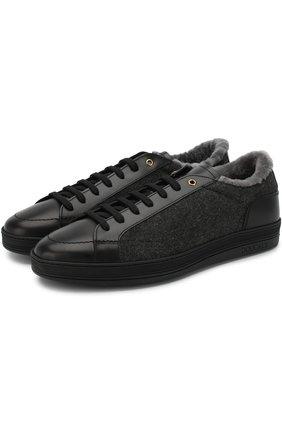 Кожаные кеды на шнуровке с внутренней меховой отделкой Doucal's черные | Фото №1