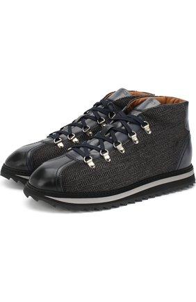 Комбинированные ботинки на шнуровке с внутренней меховой отделкой Doucal's темно-синие | Фото №1