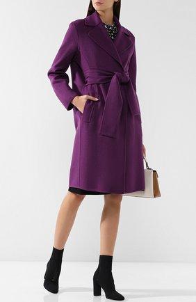 Однотонное кашемировое пальто с поясом Bottega Veneta лилового цвета | Фото №1