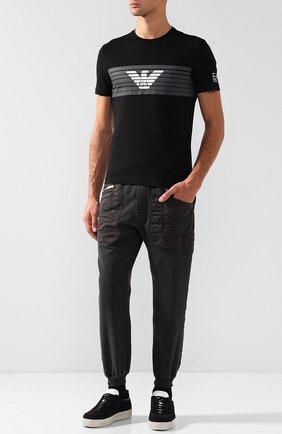 Хлопковая футболка с принтом Ea 7 черного цвета | Фото №1