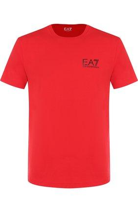 Хлопковая футболка с принтом Ea 7 темно-синего цвета | Фото №1