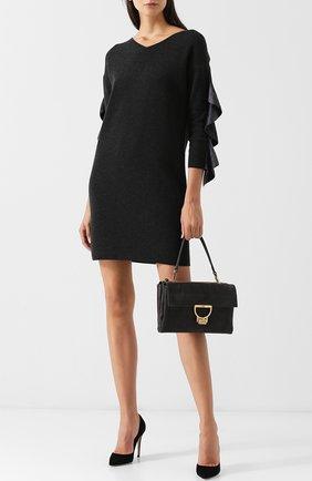 Шерстяное мини-платье с оборками на рукавах D.Exterior темно-серое | Фото №1