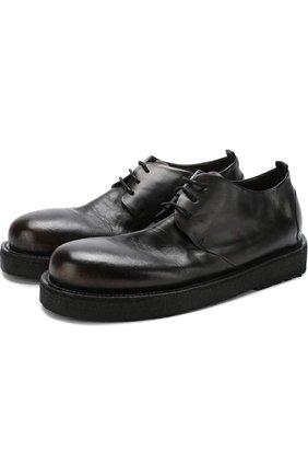 Кожаные ботинки на шнуровке Marsell темно-коричневые | Фото №1