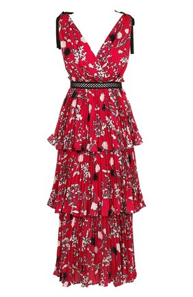 Приталенное платье-миди с оборками и принтом