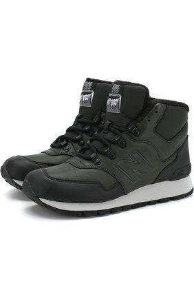 Высокие кожаные утепленные кроссовки 755 New Balance темно-зеленые | Фото №1