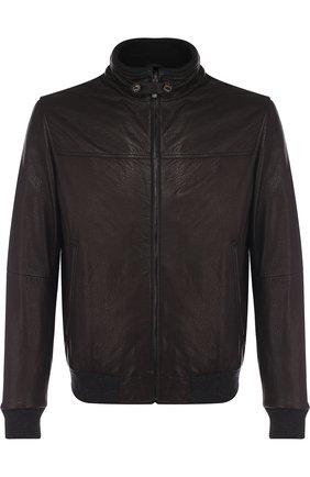 Кожаная куртка на молнии с воротником-стойкой Gimo's черная | Фото №1
