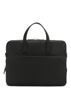 Мужская кожаная сумка для ноутбука BOSS черного цвета, арт. 50390384 | Фото 1