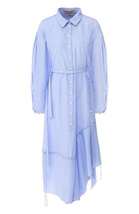 Платье-рубашка асимметричного кроя в полоску Ruban голубое | Фото №1