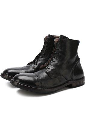 Высокие кожаные ботинки с внутренней меховой отделкой Moma черные   Фото №1