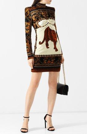 Приталенное мини-платье с принтом и воротником-стойкой Versace разноцветное | Фото №1