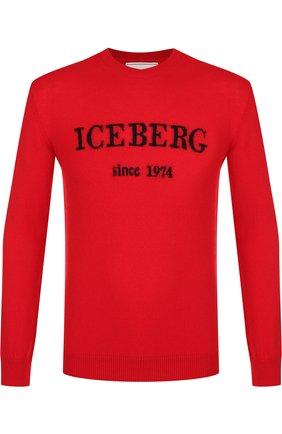 Кашемировый джемпер с принтом Iceberg красный   Фото №1