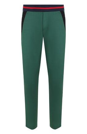 Однотонные брюки с контрастными лампасами Iceberg зеленые   Фото №1