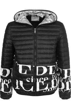 Стеганая куртка на молнии с капюшоном Iceberg черная   Фото №1