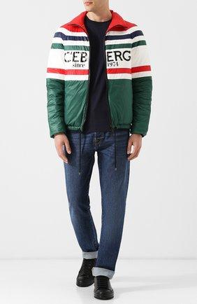 Утепленная куртка на молнии с принтом Iceberg разноцветная   Фото №1