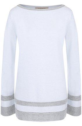 Пуловер с контрастной отделкой и вырезом-лодочка D.Exterior светло-голубой | Фото №1