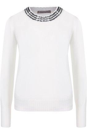 Шерстяной пуловер с круглым вырезом D.Exterior белый | Фото №1