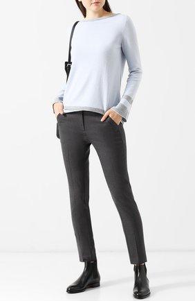 Укороченные брюки прямого кроя со стрелками D.Exterior темно-серые | Фото №1