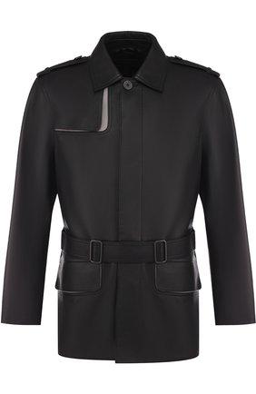 Кожаная куртка на пуговицах с поясом | Фото №1
