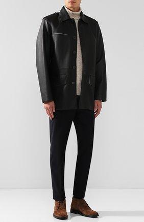 Мужская кожаная куртка на пуговицах с поясом BOTTEGA VENETA черного цвета, арт. 517178/V0K90   Фото 2