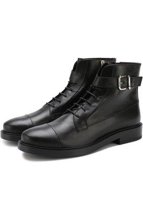 Кожаные байкеры на шнуровке с молнией Tod's черные   Фото №1