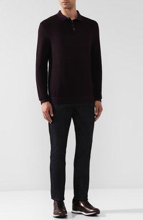Шерстяное поло с длинными рукавами Windsor бордовое | Фото №1