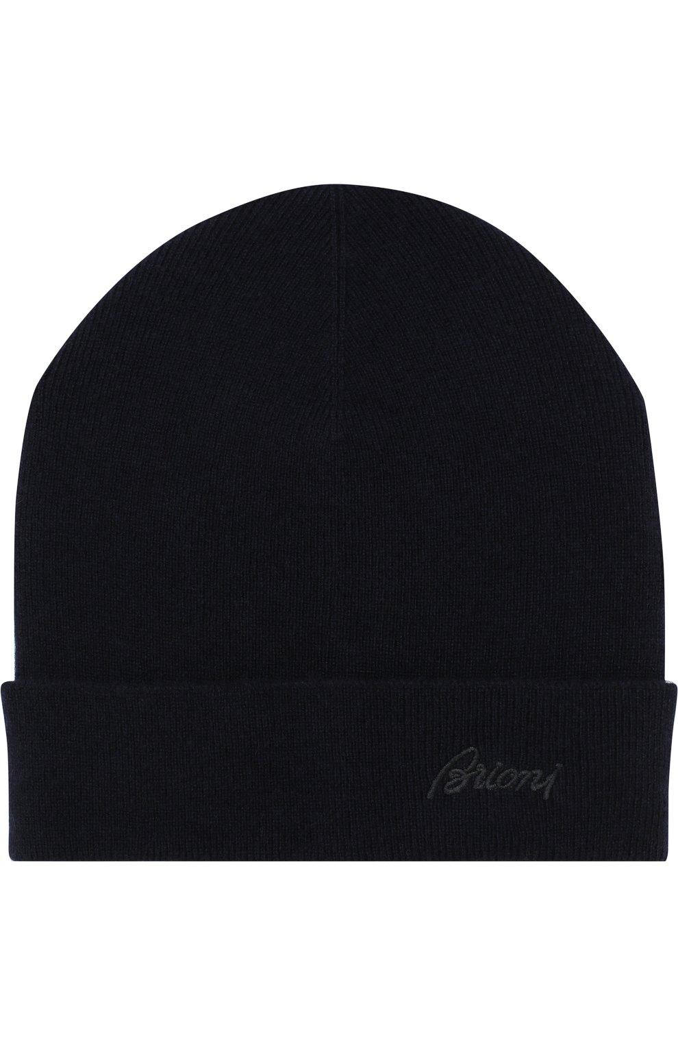 Мужская кашемировая шапка с отворотом BRIONI темно-синего цвета, арт. 04M20L/07K11 | Фото 1
