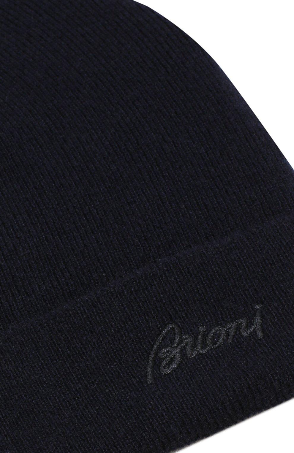Мужская кашемировая шапка с отворотом BRIONI темно-синего цвета, арт. 04M20L/07K11 | Фото 3