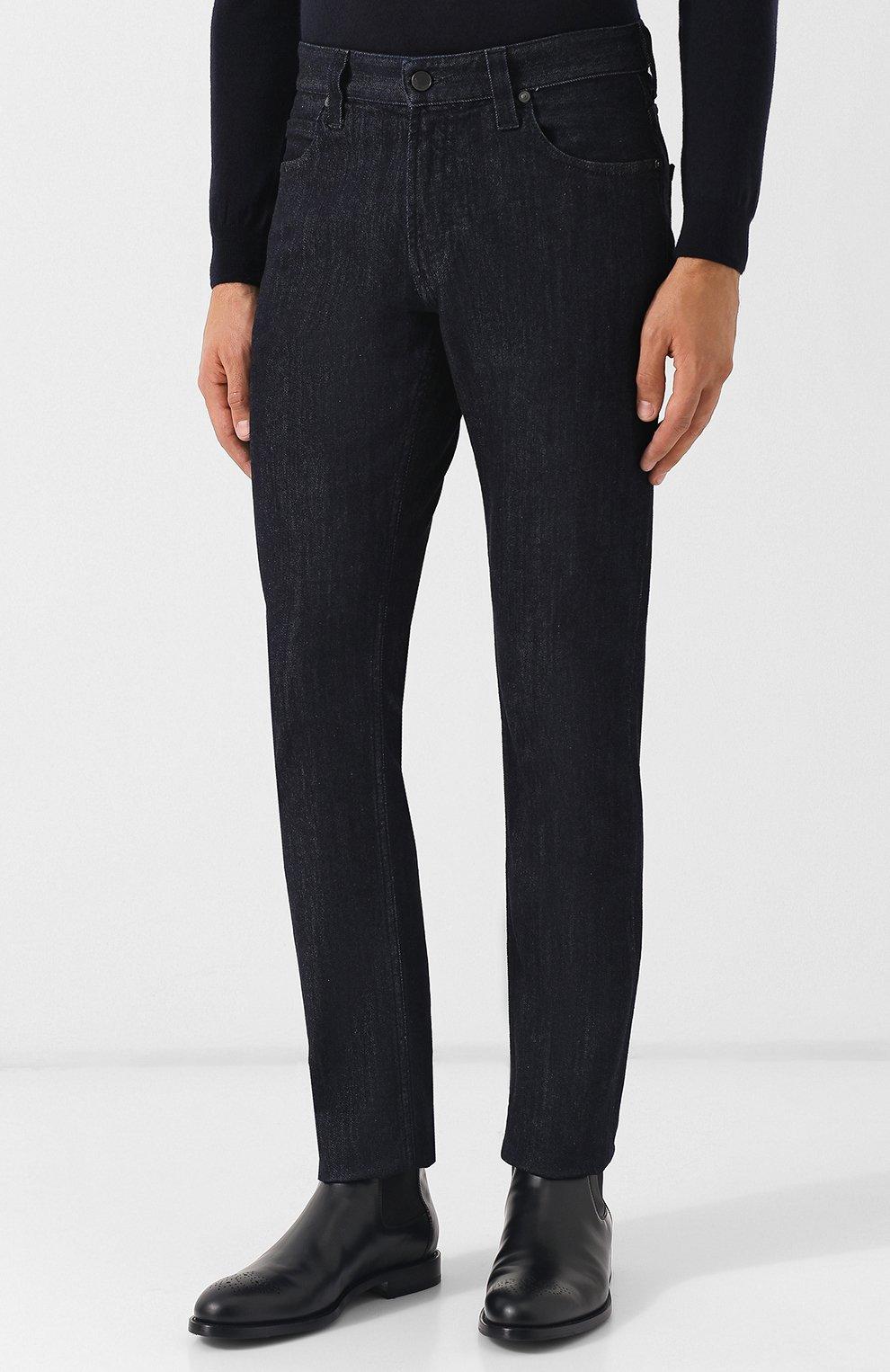 Мужские джинсы прямого кроя GIORGIO ARMANI синего цвета, арт. 6ZSJ15/SD30Z   Фото 3