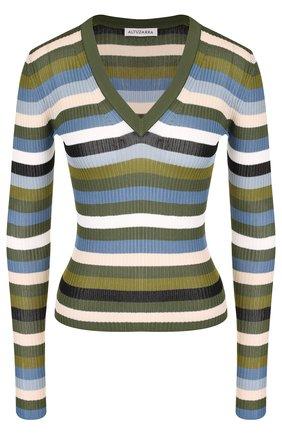 Пуловер с V-образным вырезом в полоску   Фото №1