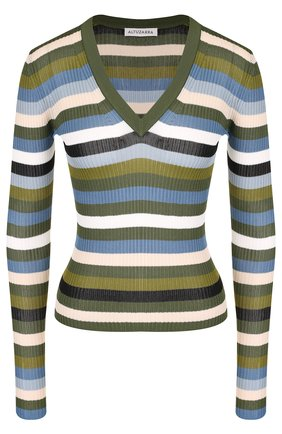 Пуловер с V-образным вырезом в полоску Altuzarra хаки   Фото №1