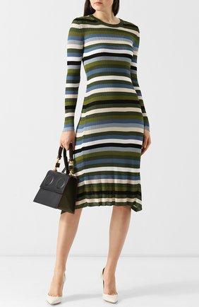 Приталенное платье-миди с круглым вырезом в полоску Altuzarra хаки   Фото №1