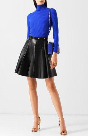 Кожаная мини-юбка А-силуэта Versace черная | Фото №1