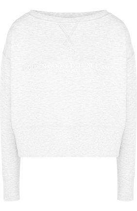 Хлопковый пуловер с логотипом бренда Golden Goose Deluxe Brand светло-серый | Фото №1