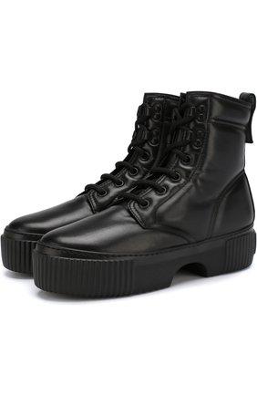 Высокие кожаные ботинки на платформе AGL черные | Фото №1