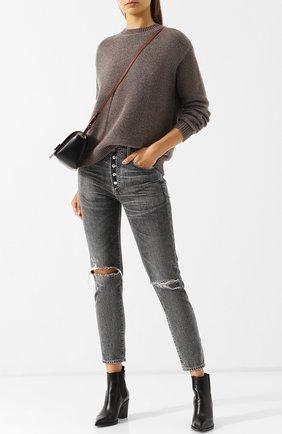 Однотонный пуловер из смеси кашемира и хлопка Alexandra Golovanoff светло-коричневый | Фото №1