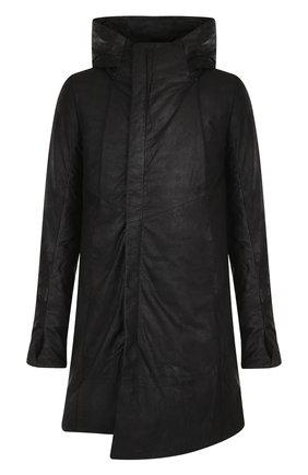 Утепленный кожаный плащ на молнии с капюшоном | Фото №1